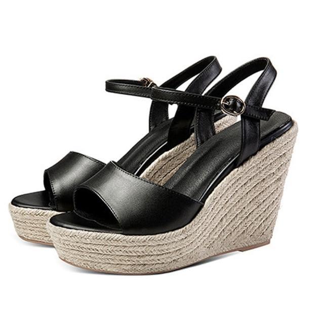 【Sp house】夏日時光全真牛皮編織坡跟涼鞋(3色可選)