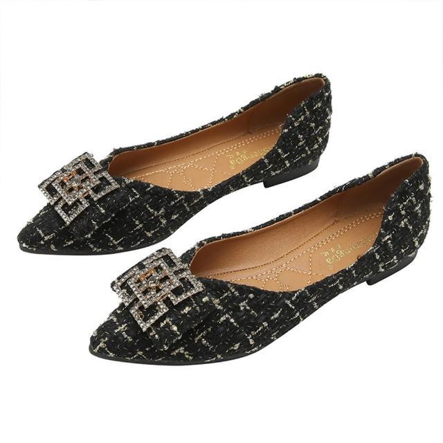 【Taroko】交纏方鑽低跟小香風尖頭都會淑女鞋(2色可選)