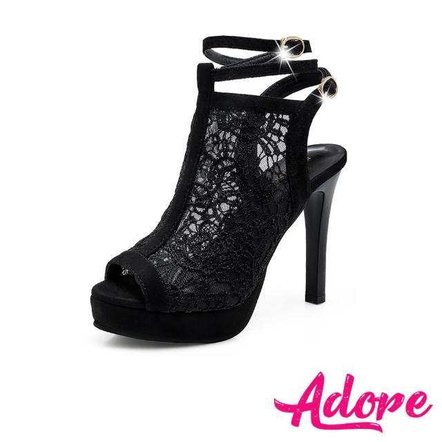 【ADORE】魚口涼鞋 露趾涼鞋 蕾絲涼鞋/性感蕾絲繫帶魚口露趾防水台高跟涼鞋(黑)