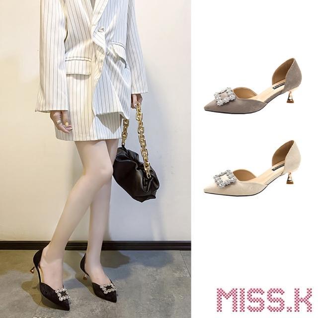 【MISS.K】尖頭跟鞋 低跟跟鞋/尖頭絨面璀璨美鑽大方釦中空高跟鞋(5色任選)