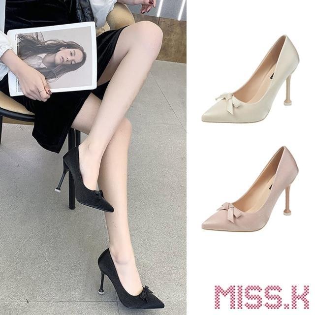 【MISS.K】尖頭跟鞋 高跟跟鞋/氣質光澤緞面蝴蝶結造型尖頭高跟鞋(4色任選)