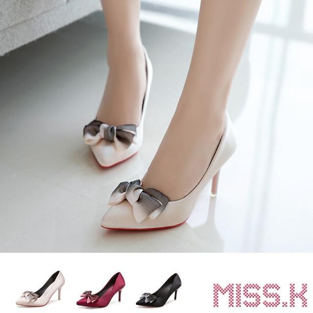 【MISS.K】尖頭跟鞋 高跟跟鞋/典雅綢緞雙色紗花蝴蝶結造型尖頭高跟鞋(3色任選)
