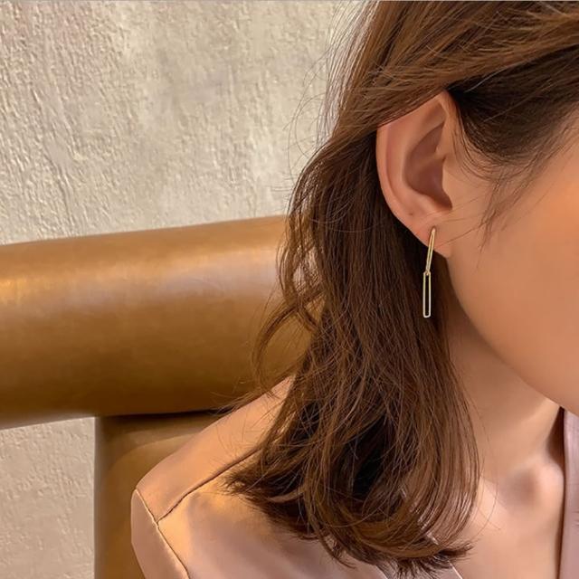 【HaNA 梨花】韓國質感日常小清新.方型垂飾耳環