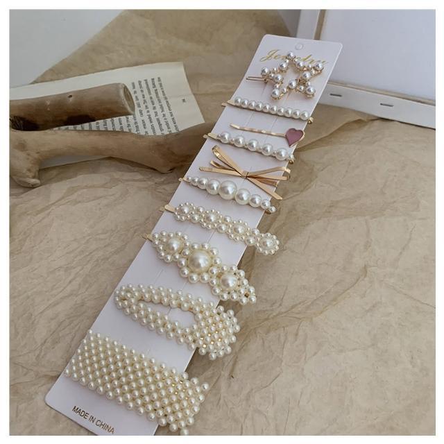 【HaNA 梨花】韓國質感髮間集.珍珠甜蜜感滿滿髮夾十件套