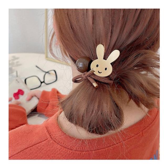 【HaNA 梨花】韓國甜秘密.笑臉和兔子霧金質感髮圈二件套