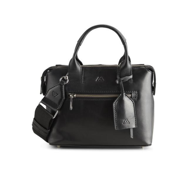 【MARKBERG】Abrielle 丹麥手工牛皮時尚小公事包 手提包 斜背包(簡約黑)