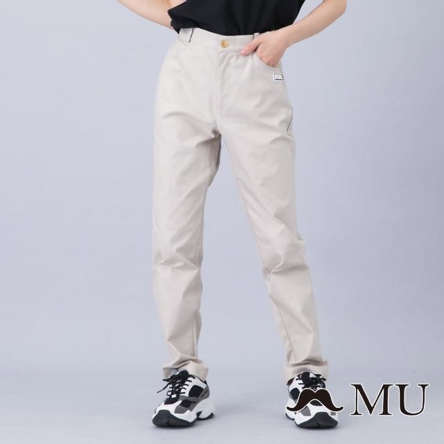 【maru.a】MU 顯瘦剪裁LOGO刺繡百搭長褲(卡其)