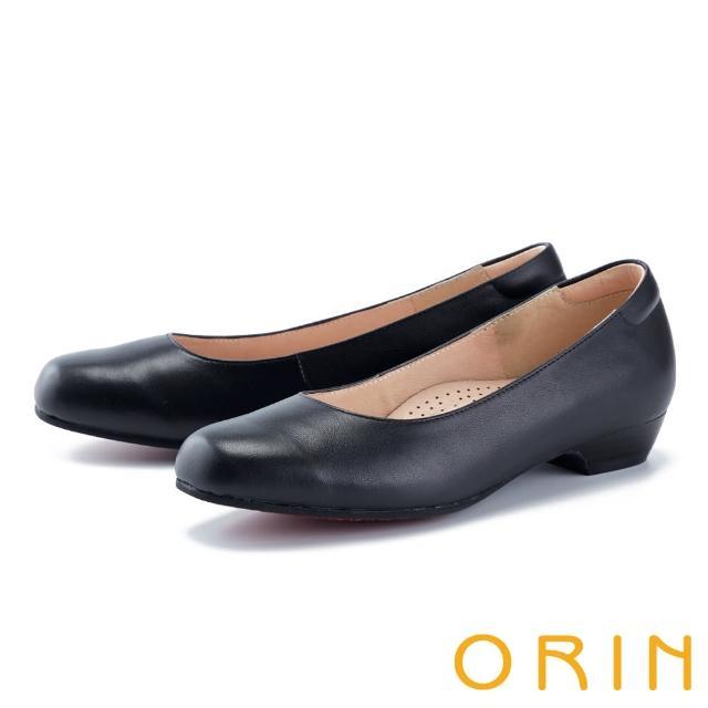 【ORIN】真皮百搭舒適素面 女 低跟鞋(黑色)