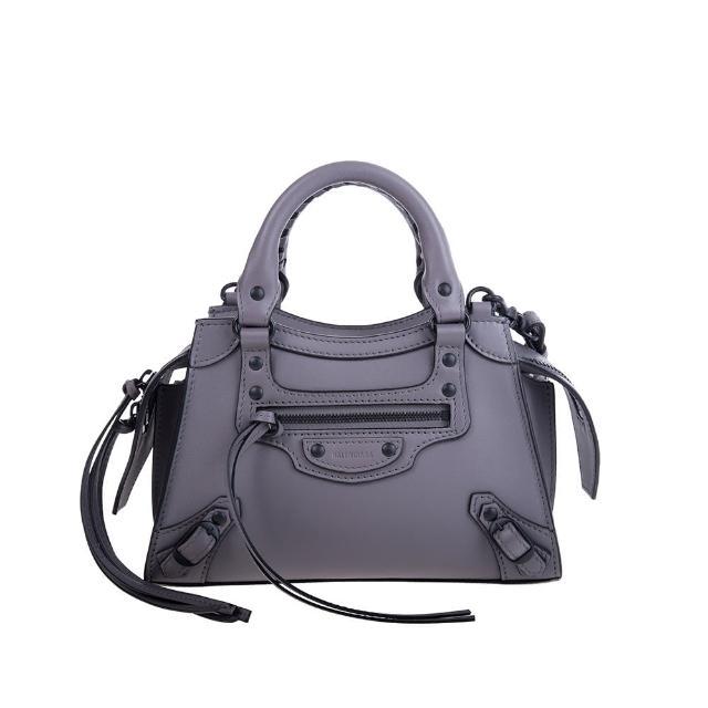 【Balenciaga 巴黎世家】新款Neo Classic MINI牛皮黑釦手提/斜背機車包(灰色)