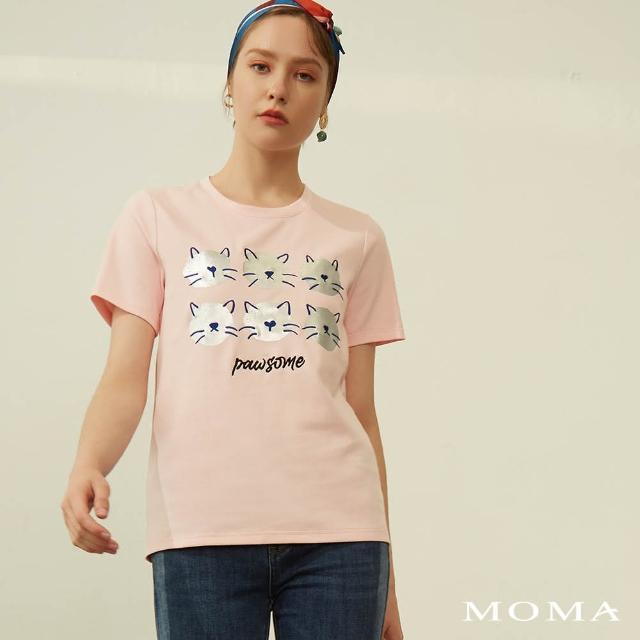 【MOMA】貓咪印花短袖上衣(粉色)