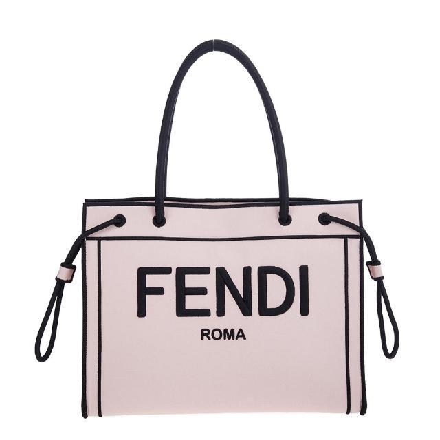 【FENDI 芬迪】新款米白刺繡FENDI標誌帆布ROMA手提/肩背包(霧粉紅)