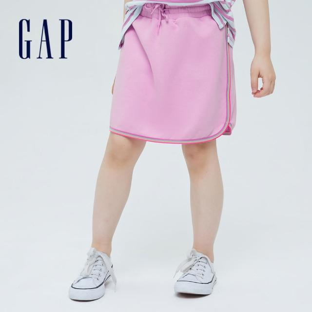 【GAP】女童 甜美繫帶法式圈織短裙(697690-粉色)