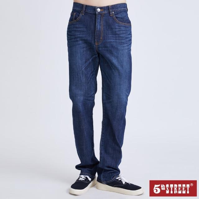 【5th STREET】男高腰機能直筒褲-酵洗藍