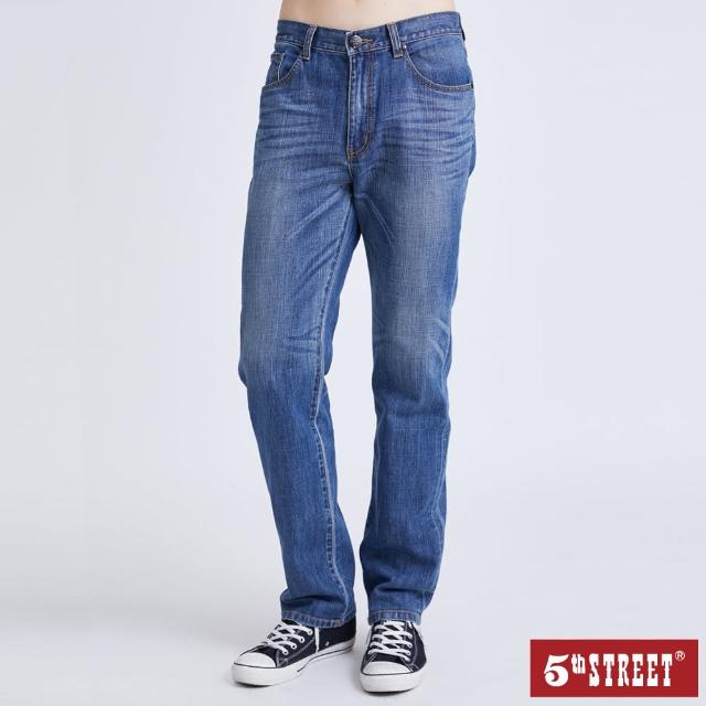 【5th STREET】男高腰機能直筒褲-漂淺藍