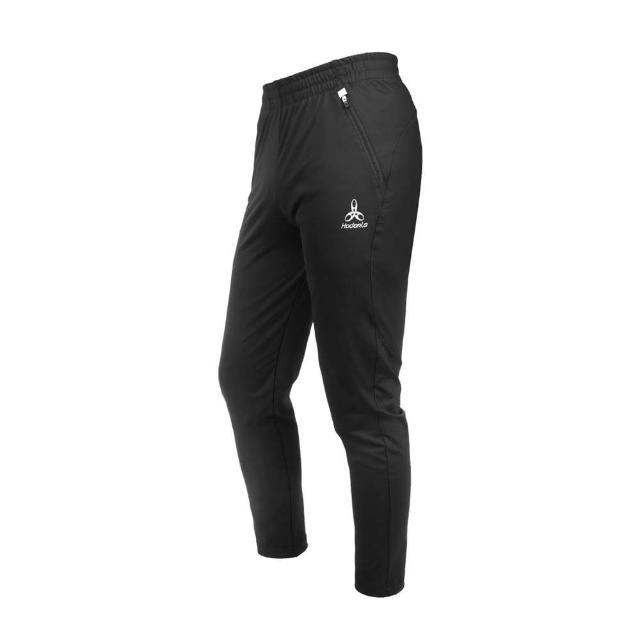 【HODARLA】男女款星焰針織彈性長褲-台灣製 運動 抗UV 吸濕排汗 反光 黑(3158301)