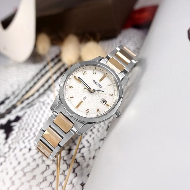 【SEIKO 精工】LUKIA 太陽能 電波錶 日期 鈦金屬手錶 銀白x鍍香檳金 28mm(1B35-0AN0KS.SSQV082J)