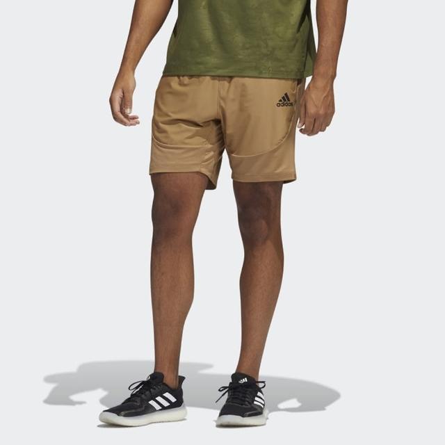 【adidas 愛迪達】短褲 男款 運動 足球 慢跑 H.RDY SHORTS 卡其 GM0341