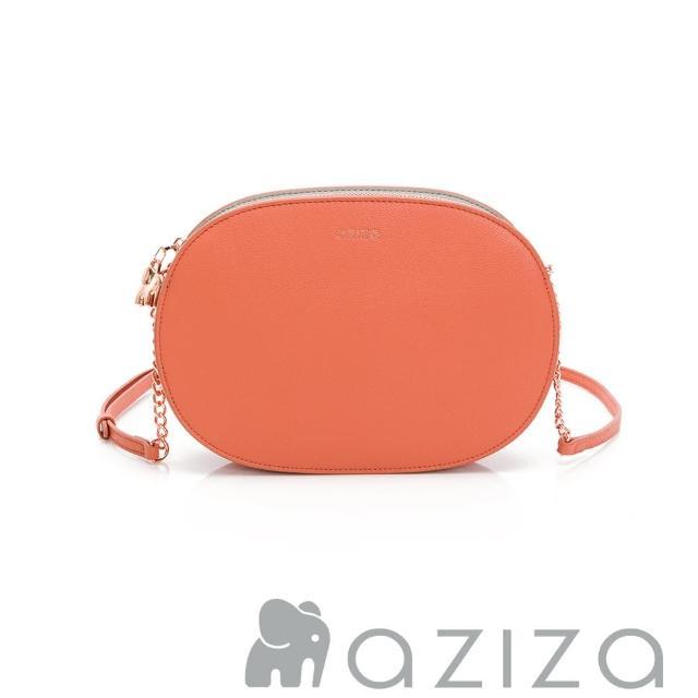 【aziza】ALYSA橢圓鍊帶斜背包(珊瑚紅)
