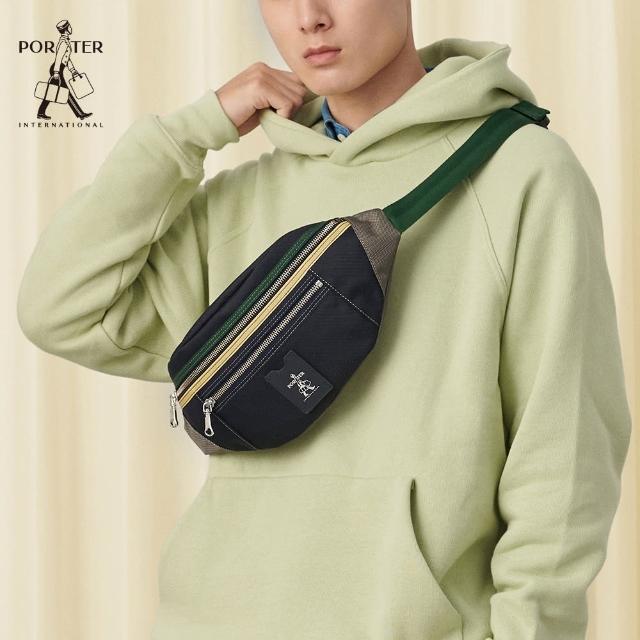 【PORTER INTERNATIONAL】LUXY個性休閒腰包(靜謐綠配深藍)