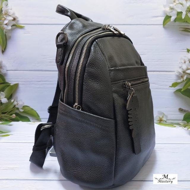 【Misstery】後背包進口牛皮時尚前拉鏈肩背帶後背包-黑(進口牛皮女包系列)