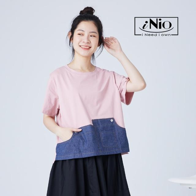 【iNio 衣著美學】撞色風丹寧拼接短袖造型上衣(S-L適穿)-現貨快出C1W1148