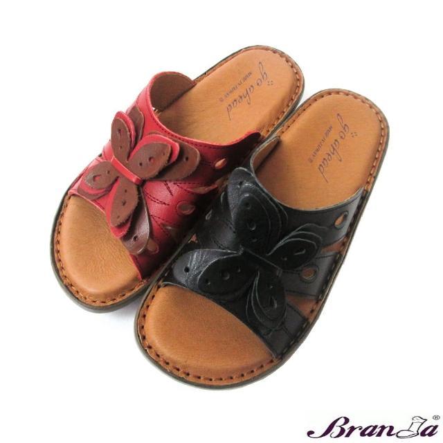 【Branda】MIT春夏軟墊手工縫線大皮花厚底拖鞋(厚底軟氣墊縫線皮花配色拖鞋兩色)