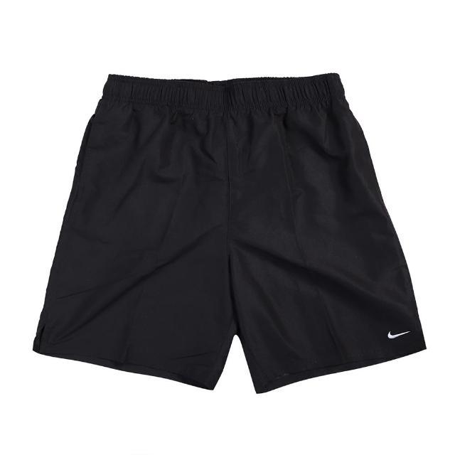 【NIKE 耐吉】短褲 Essential Lap 膝上 男款 運動休閒 帶襯海灘褲 水上活動 輕量 黑 白(NESSA559-001)