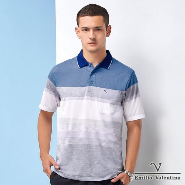 【Emilio Valentino 范倫鐵諾】男裝雅緻時尚橫紋POLO衫_藍/灰/白(21-1V5807)