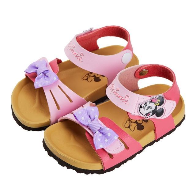 【Disney 迪士尼】迪士尼童鞋 米妮 造型蝴蝶結魔鬼氈涼鞋-粉(MIT台灣在地工廠製造)