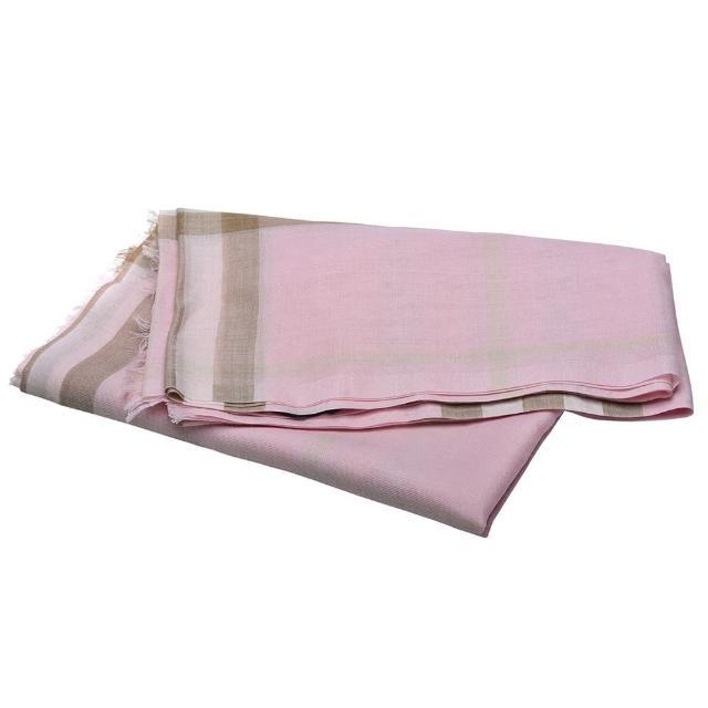 【BURBERRY 巴寶莉】經典格紋羊毛流蘇圍巾(粉80194621)