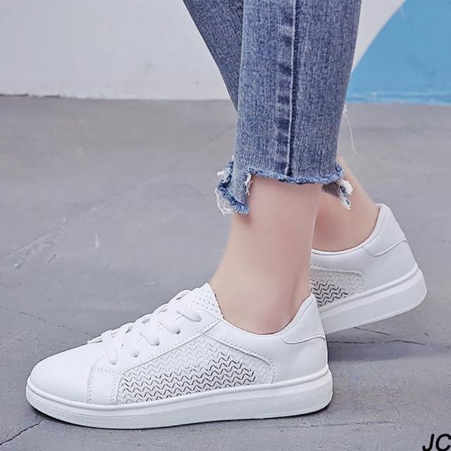 【JC Collection】透氣皮質網布鏤空清新百搭小白鞋運動休閒鞋(白色)