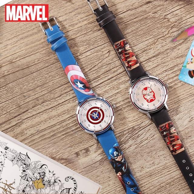 【Disney 迪士尼】漫威系列 復仇者聯盟 防水石英男款手錶 男童手錶(美國隊長 鋼鐵人)