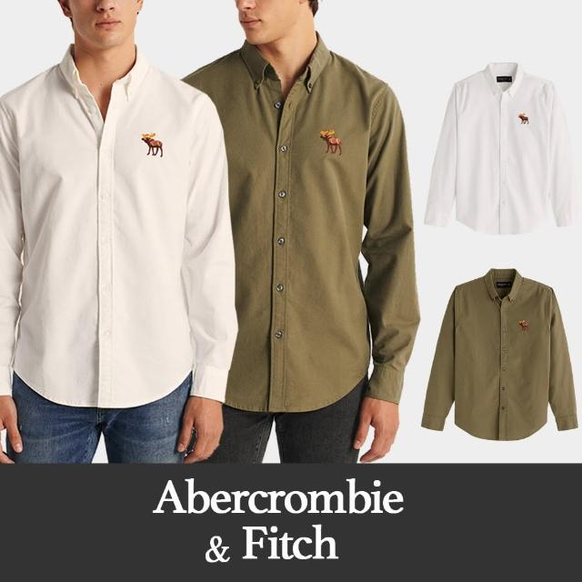 【Abercrombie & Fitch】A&F 麋鹿 經典刺繡彩大麋鹿素面長袖襯衫-多色款組合