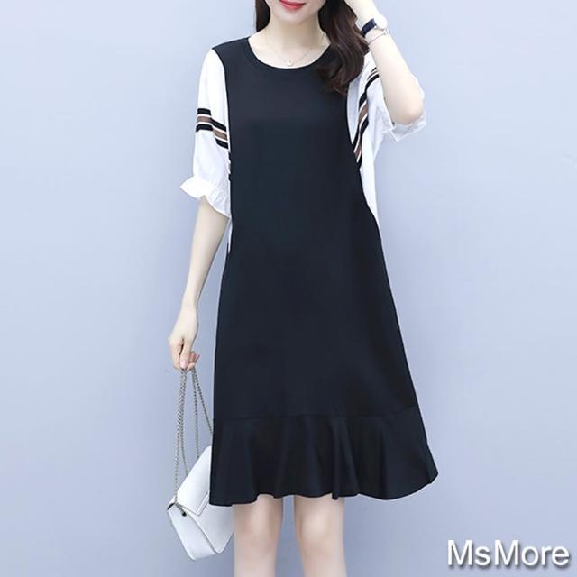【MsMore】魚尾裙拼接蝙蝠袖寬鬆大碼棉質洋裝#109334現貨+預購(黑)