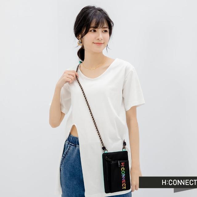 【H:CONNECT】韓國品牌 女裝 -圓領純色側開衩短袖長版上衣(白色)