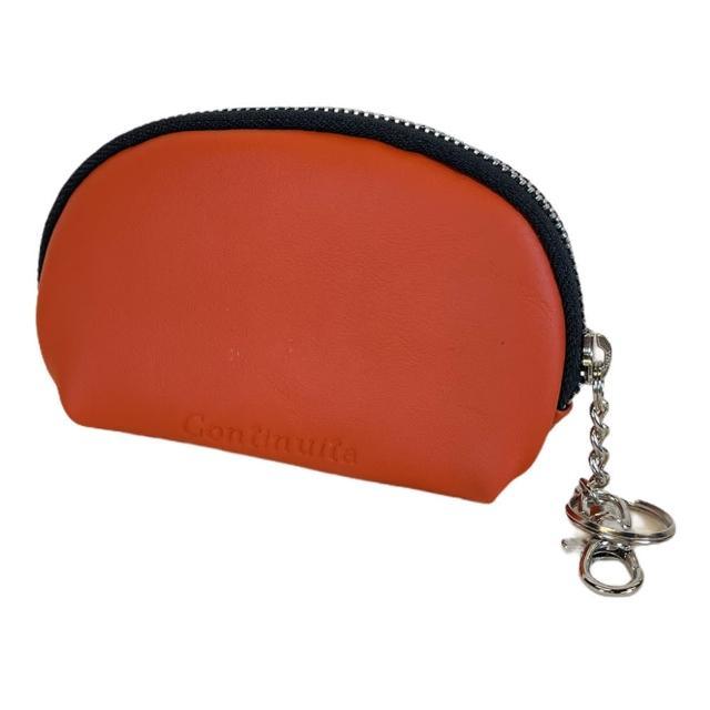 【Continuita 康緹尼】頭層牛皮零錢包/化妝包/印章包-橘色(手拿小包/零錢包/化妝包)