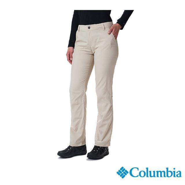 【Columbia 哥倫比亞】女款- UPF50快排長褲-卡其(UAR26680KI / 快排.防曬.休閒)