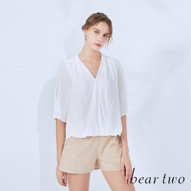【bear two】V領雪紡珍珠扣上衣(兩色)