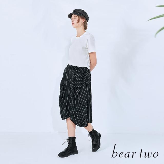 【bear two】假兩件涼感印花洋裝(兩色)