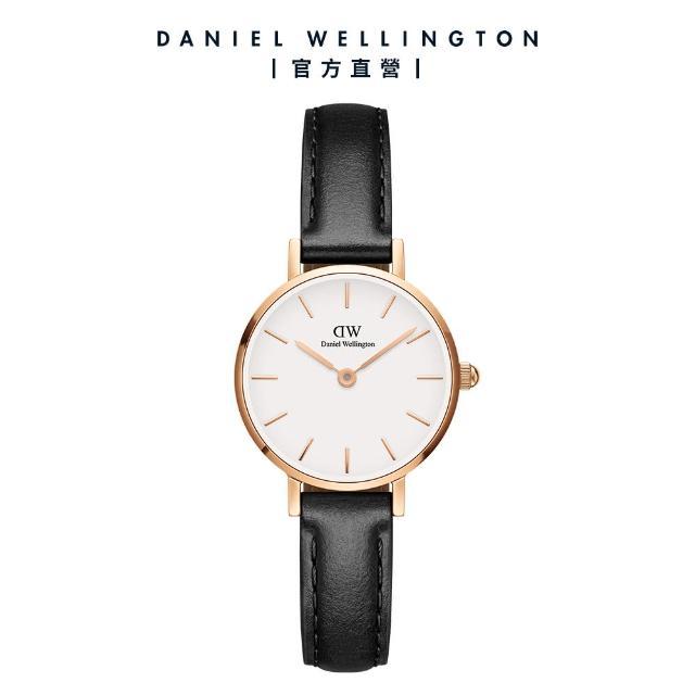 【Daniel Wellington】官方直營 Petite Sheffield 24mm經典黑真皮皮革錶(DW手錶 DW00100443)