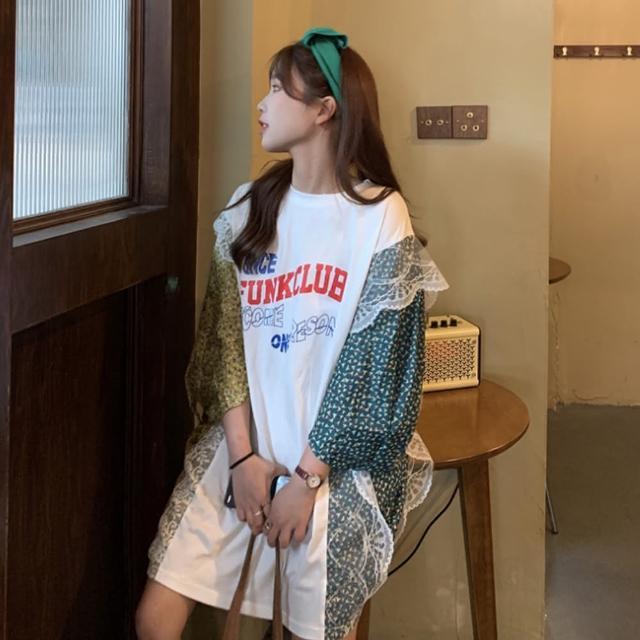 【BBHONEY】寬鬆大碼蕾絲拼接印花長版上衣(網美熱搜款)