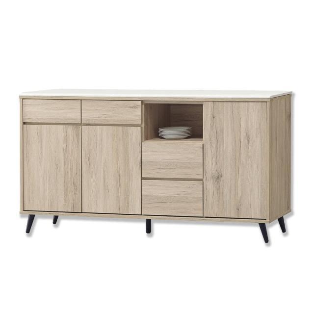 【BODEN】尼克5.3尺石面碗盤收納餐櫃/碗盤櫃/電器櫃/置物矮櫃