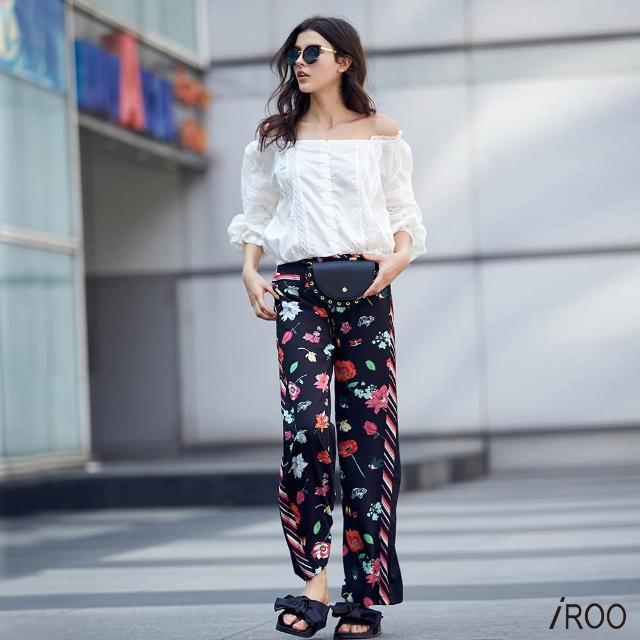 【iROO】滿版花朵經典時尚長寬褲