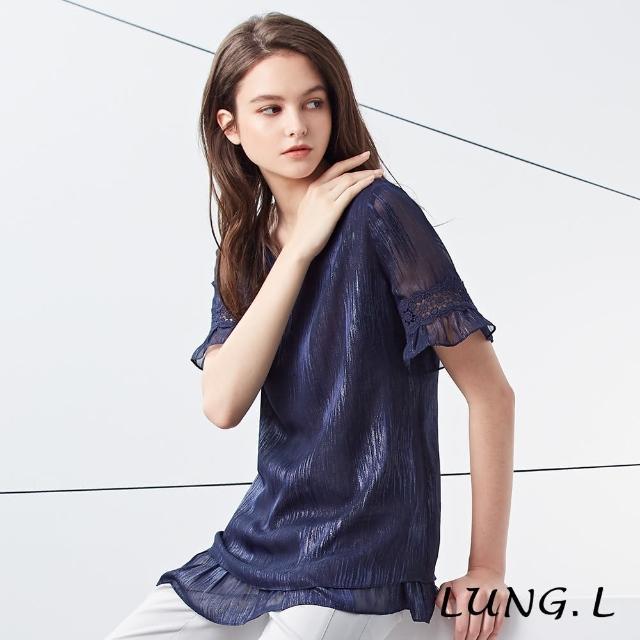 【LUNG.L 林佳樺】LH99A#藍色亮蔥雪紡短袖上衣
