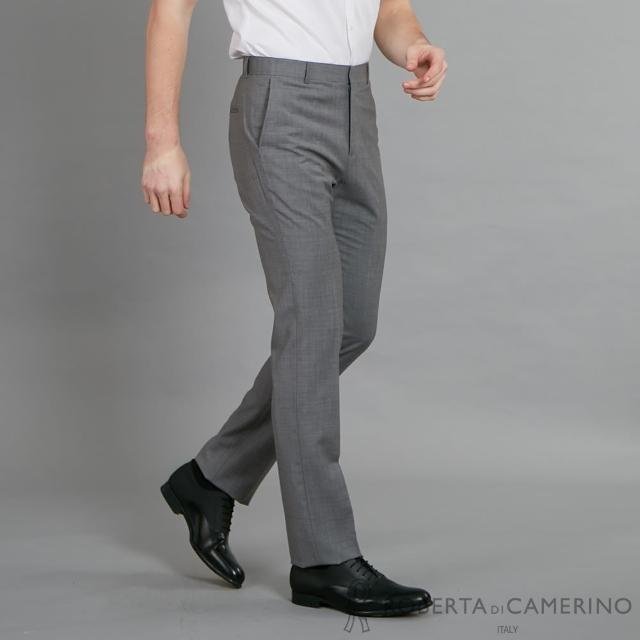 【ROBERTA 諾貝達】商務紳士 修身窄管版羊毛西裝褲(灰色)