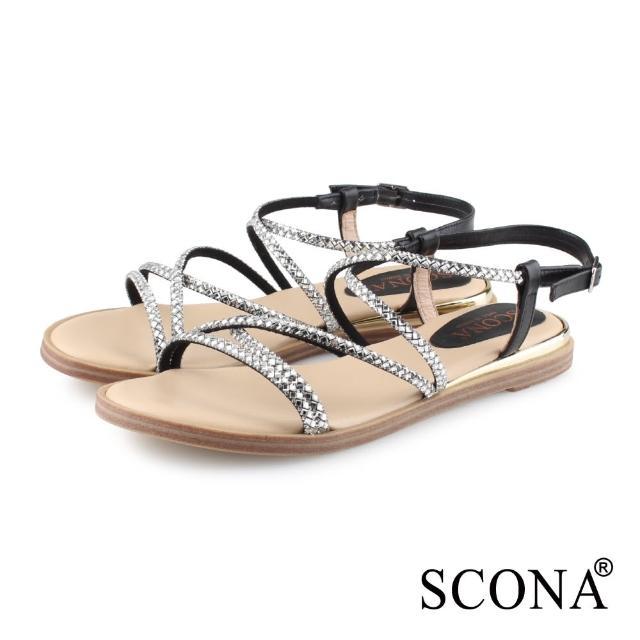 【SCONA 蘇格南】真皮 時尚亮鑽羅馬涼鞋(黑色 31103-1)