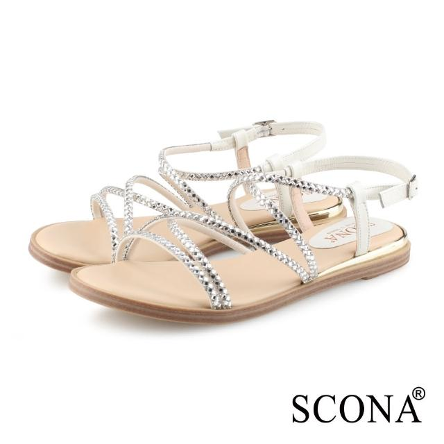 【SCONA 蘇格南】真皮 時尚亮鑽羅馬涼鞋(米白色 31103-2)