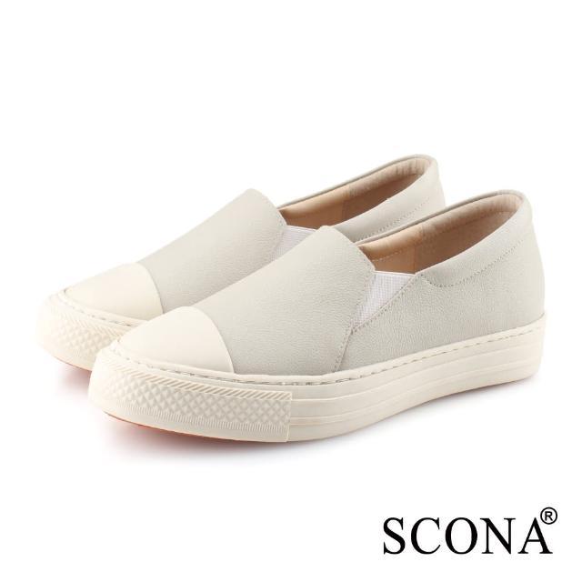 【SCONA 蘇格南】全真皮 樂活套式厚底休閒鞋(灰白色 7355-2)