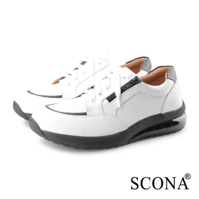 【SCONA 蘇格南】全真皮 舒適減壓氣墊休閒鞋(白色 1281-2)