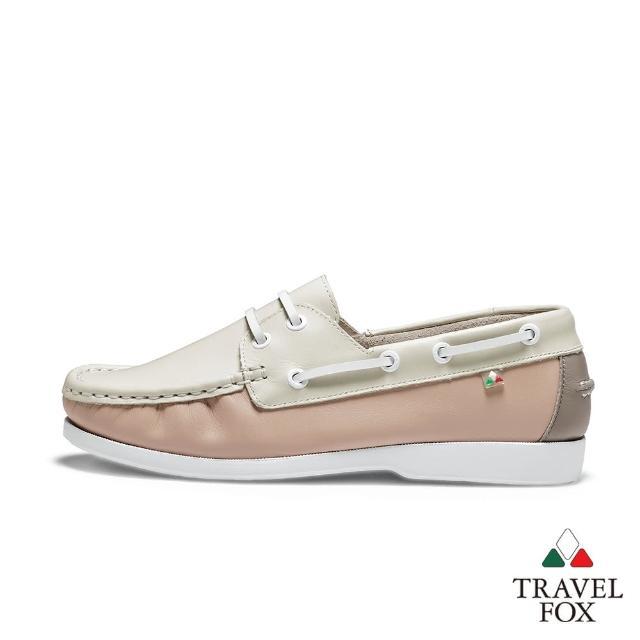 【TRAVEL FOX 旅狐】女款 DOVER 糖果色休閒帆船鞋(921428-184 柑橘牛奶米)